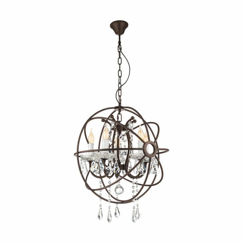 Eglo Lighting West Fenton Rustic Steel with Clear Crystal Shade Pendant Light