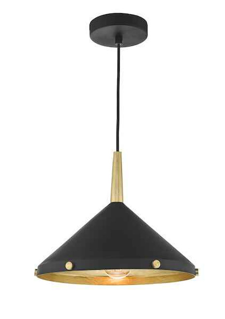Edena Matt Black And Gold Leaf Industrial Metal Pendant Light