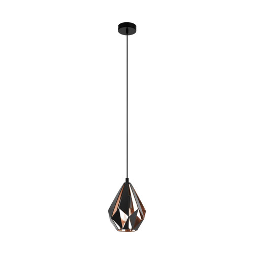 Eglo Lighting Carlton 1 Black and Copper Coloured Pendant Light