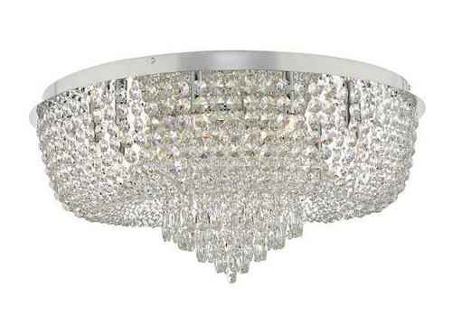 Eitan 12 Light Polished Chrome and Beaded Crystal Flush Ceiling Light