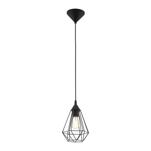 Eglo Lighting Tarbes Black with Small Black Shade Pendant Light