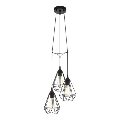 Eglo Lighting Tarbes 3 Light Black Caged Pendant Light