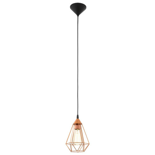 Eglo Lighting Tarbes Black with Small Copper Coloured Shade Pendant Light