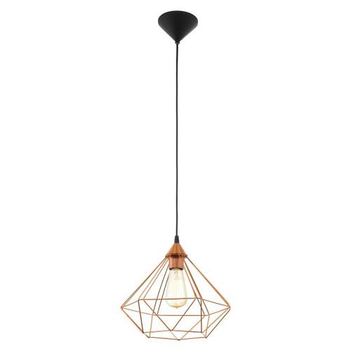 Eglo Lighting Tarbes Black with Medium Copper Coloured Shade Pendant Light