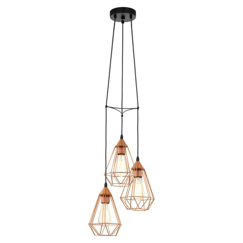 Eglo Lighting Tarbes Black with Copper Coloured Shade Pendant Light