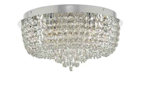 Eitan 9 Light Polished Chrome and Beaded Crystal Flush Ceiling Light