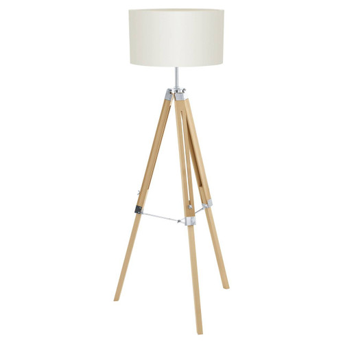 Eglo Lighting Lantada Natural Wood and Steel with Cream Fabric Shade Tripod Floor Lamp