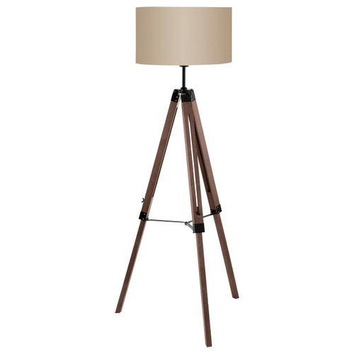 Eglo Lighting Lantada Walnut and Steel with Taupe Fabric Shade Tripod Floor Lamp