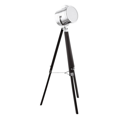 Eglo Lighting Lantada Black Wood and Steel with Chrome Shade Tripod Floor Lamp