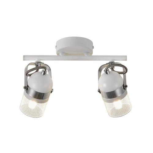 Nordlux Agnes 2 Light White and Silver Adjustable Bar Spotlight