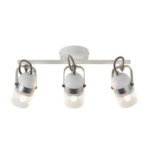 Nordlux Agnes 3 Light White and Silver Adjustable Bar Spotlight