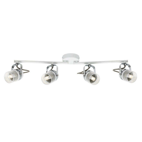 Nordlux Agnes 4 Light White and Silver Adjustable Bar Spotlight