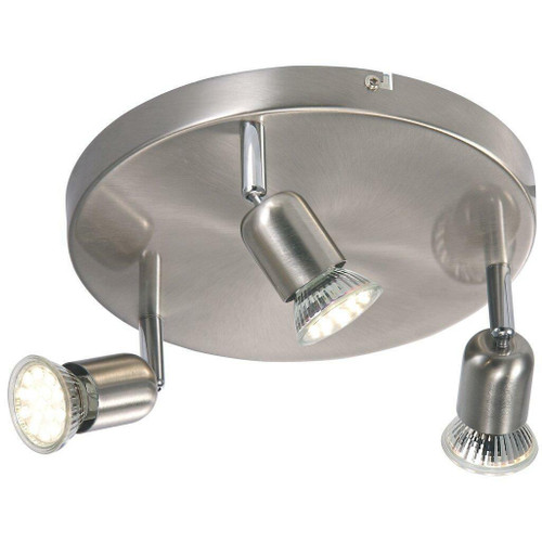 Nordlux Avenue LED 3 Light Brushed Steel Plate Spotlight