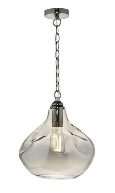 Esarosa Smoked Glass and Black Chrome Pendant Light