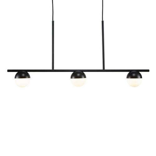 Nordlux Contina 3 Light Black with White Opal Glass Bar Pendant Light