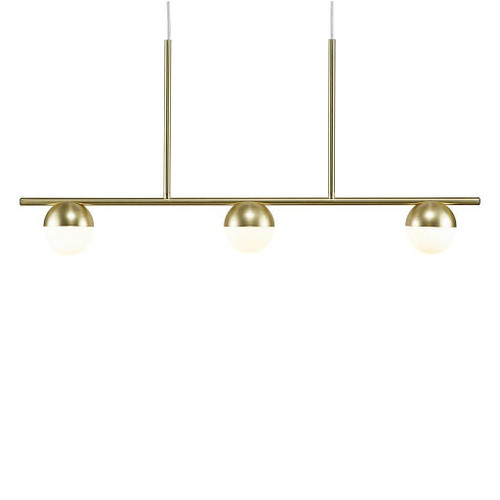 Nordlux Contina 3 Light Brass with White Opal Glass Bar Pendant Light