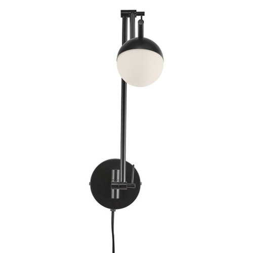 Nordlux Contina Black with White Opal Glass Wall Light