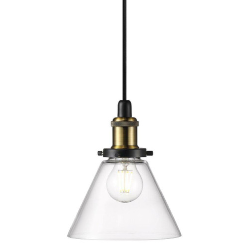 Nordlux Disa Black with Brass Detail and Clear Glass Pendant Light