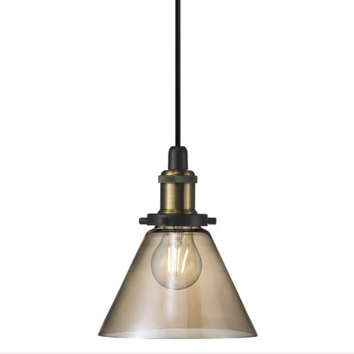 Nordlux Disa Black with Brass Detail and Amber Glass Pendant Light