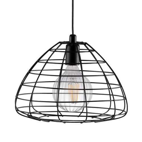 Nordlux Esk Black with Black Cage Shade Pendant Light