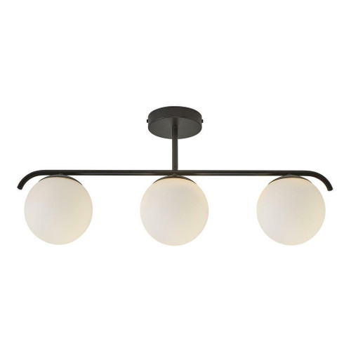 Nordlux Grant 3 Light Black with White Opal Glass Bar Pendant Light
