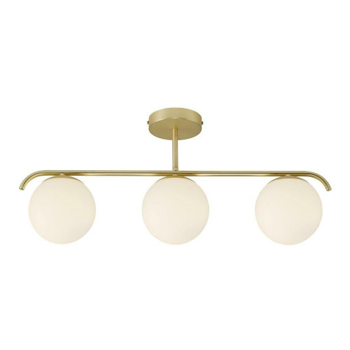 Nordlux Grant 3 Light Brass with White Opal Glass Bar Pendant Light