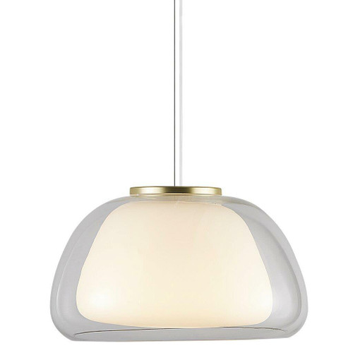 Nordlux Jelly Clear with White Opal Glass and Brass Detail Pendant Light