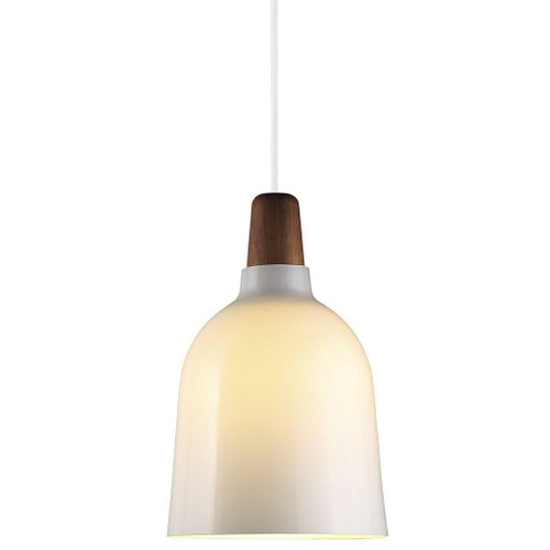DFTP Karma 20 White with Wooden Detail and White Opal Glass Pendant Light