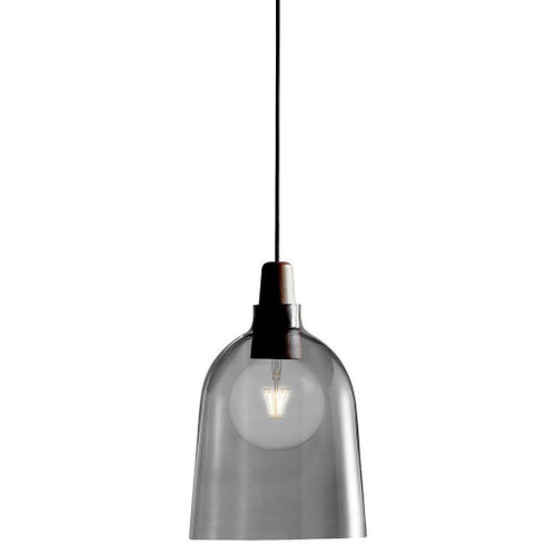 DFTP Karma 24 Black with Wooden Detail and Smoked Glass Pendant Light