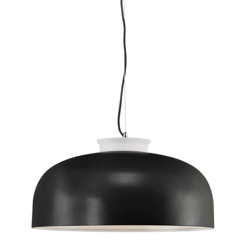 Nordlux Miry Black with White Detail and White Opal Glass Pendant Light