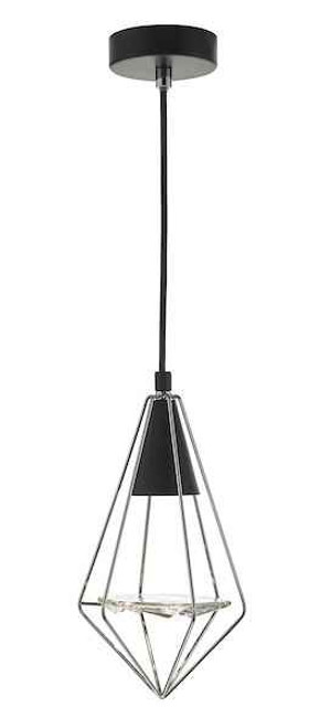 Gianni Black Polished Chrome and Glass Pendant Light