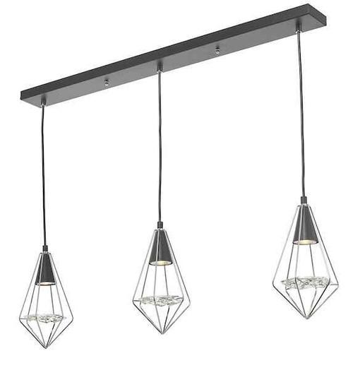 Gianni 3 Light Black Polished Chrome and Glass Pendant Light