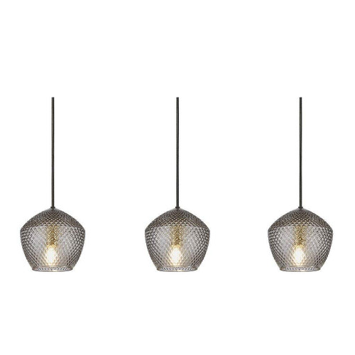 Nordlux Orbiform 3 Light Brass with Smoked Glass Bar Pendant Light