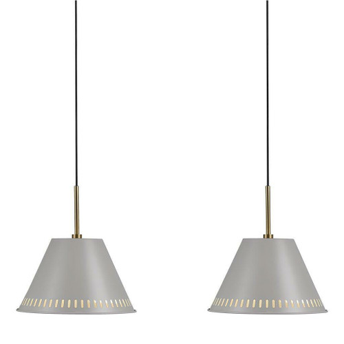 Nordlux Pine Two Pack Grey with Brass Detail Bar Pendant Light