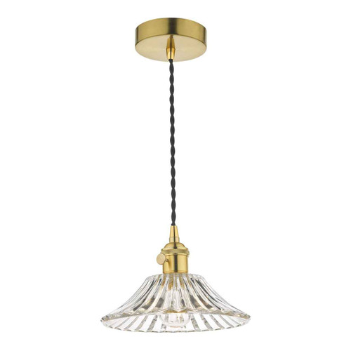 Hadano Natural Brass with Flared Glass Shade Pendant Light