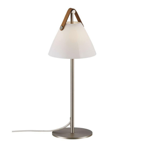 DFTP Strap Nickel with White Opal Glass and Leather Strap Table Lamp