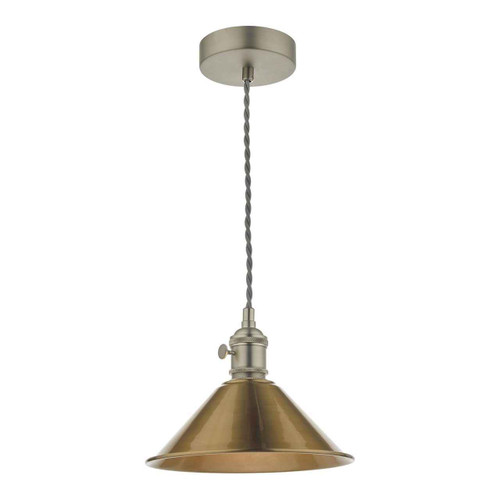Hadano Antique Chrome with Aged Brass Shade Pendant Light
