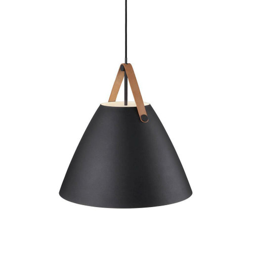 DFTP Strap 48 Black with Leather Strap Pendant Light