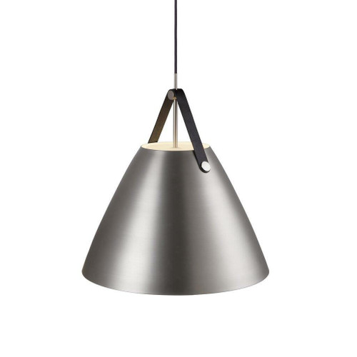 DFTP Strap 48 Brushed Steel with Leather Strap Pendant Light