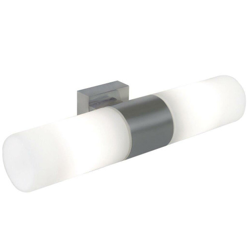 Nordlux Tangens 2 Light Brushed Steel with White Opal Glass Bathroom Wall Light