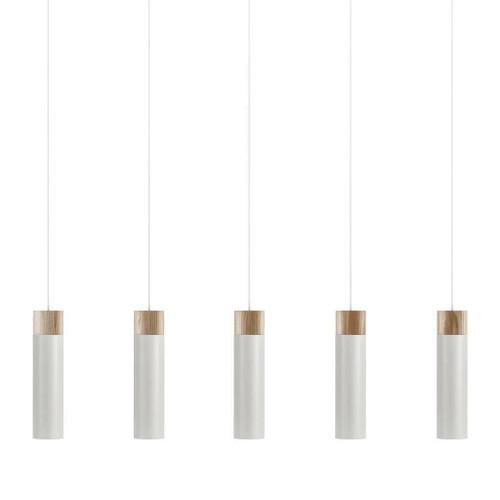 Nordlux Tilo 5 Light White with Wooden Detail Bar Pendant Light
