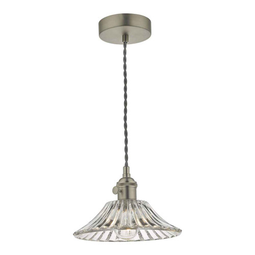 Hadano Antique Chrome with Flared Glass Shade Pendant Light