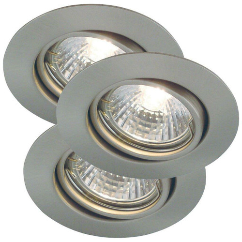 Nordlux Triton Three Pack Brushed Steel Tilt Recessed Downlight