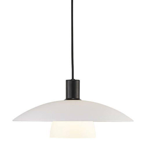 Nordlux Verona Black with White Opal Glass Pendant Light