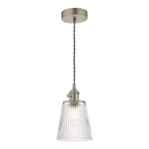 Hadano Antique Chrome with Ribbed Glass Shade Pendant Light