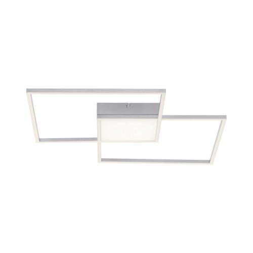 Leuchten Direkt ASMIN 3 Light Brushed Steel Square Remote Control Dimmable Ceiling Light