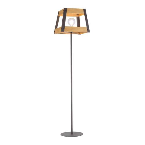 Leuchten Direkt CRATE Black with Natural Wood Shade Floor Lamp
