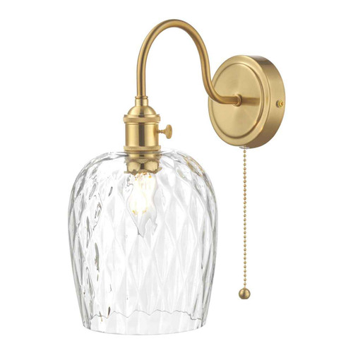 Hadano 1 Light Brass With Clear Dimpled Shade Wall Light