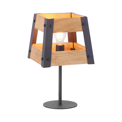 Leuchten Direkt CRATE Black with Natural Wood Shade Table Lamp