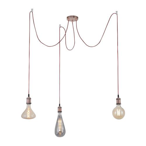 Leuchten Direkt DIY 3 Light Copper 3mtr Suspension Pendant Light
